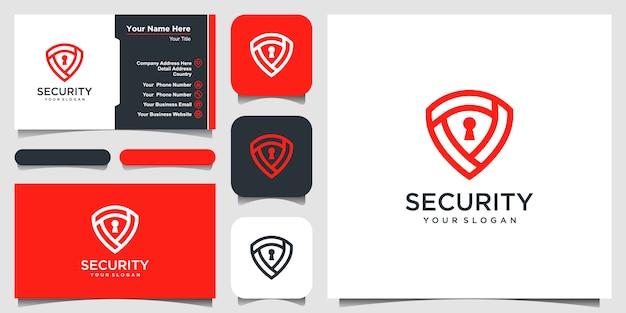 Beveiligingspictogram. beveiligingssymbool beschermen. pictogram en visitekaartje.