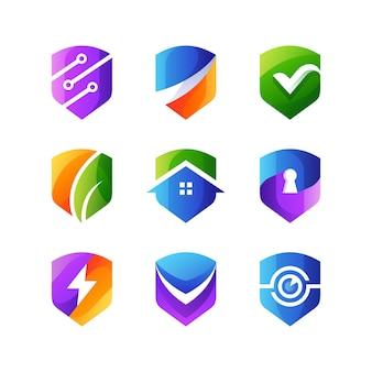 Beveiligingsschild collectie gradiënt premium logo icoon
