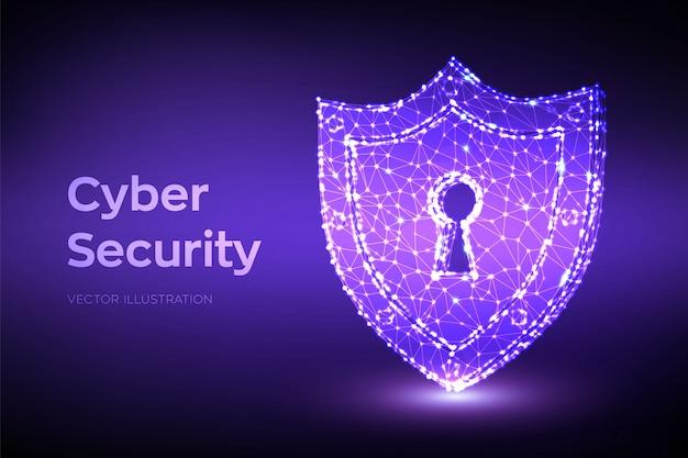 Beveiligingsschild. cyberbeveiliging. 3d laag veelhoekig schild met sleutelgatpictogram. bescherm en beveiliging van veilig concept.