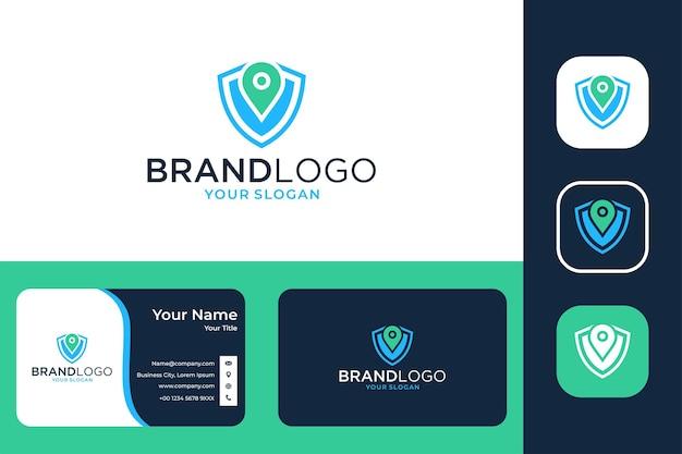 Beveiligingsschild met pinlocatie-logo-ontwerp en visitekaartje