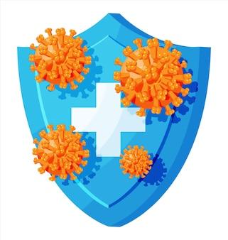 Beveiligingsschild voor virusbescherming.