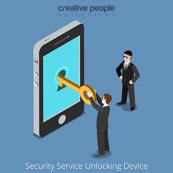 Beveiligingsservice ontgrendelingsapparaat. speciale agenten nemen universele aanwijzing naar smartphone.