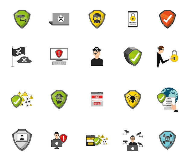 Beveiligingssysteem icon set