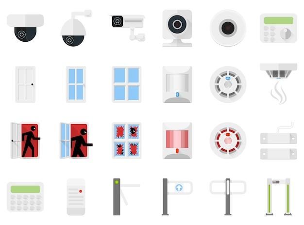 Beveiligingssysteem set iconen van videocamera's, detectoren, tourniquets, toegangscontrole. sensoren voor deuren en ramen, bewegingssensoren en rooksensoren in rust en alarm. pictogrammen voor een beveiligingswinkel.