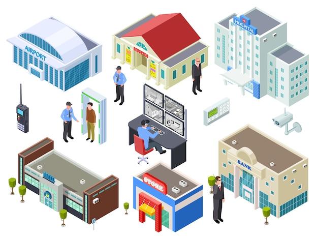 Beveiligingssysteem voor verschillende openbare gebouwen isometrische vector collectie