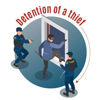 Beveiligingssystemen isometrische ronde met aanhouding van inbrekers door gewapende bewakingsagenten misdaadscène illustratie