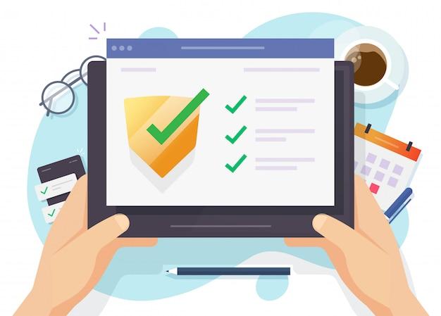Beveiligingsverificatie check digitale computersoftwarebeschermer online voor internet-website bescherming tegen virusaanvallen webbrowser of tablet veilige beveiligingstechnologie