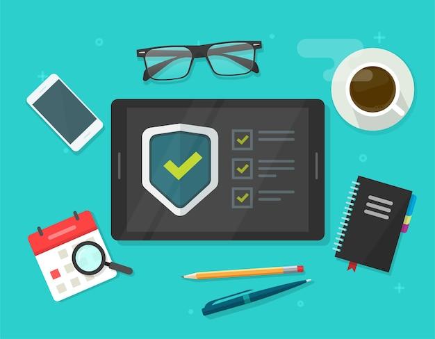 Beveiligingsverificatie checklist digitale test, identiteitsfraude spionagechecklist scannen op tabletcomputer werktafel bureaubewaker online, internetvirusaanval webbescherming, veilige bewaker