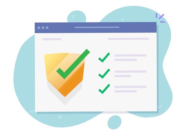 Beveiligingsverificatie controleer de software van de computer online voor bescherming tegen aanvallen op internetwebsites