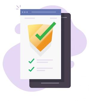 Beveiligingsverificatiecontrole scan op mobiele telefoonbewaker online voor software voor bescherming tegen internetaanvallen