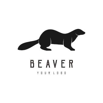 Bever abstract logo ontwerp silhouet