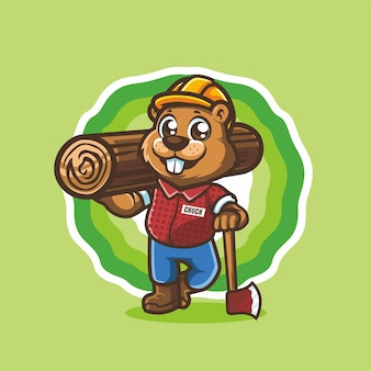 Bever woodchuck houthakker staande met hout en bijl cartoon karakter mascotte vector