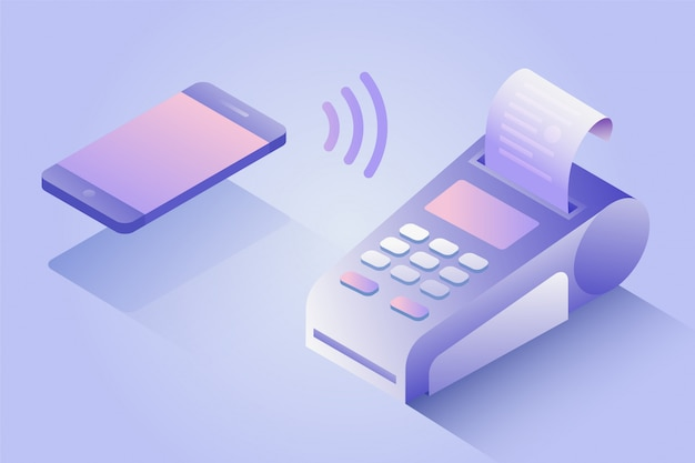 Bevestigt de betaling via de mobiele telefoon, isometrisch nfc-betalingsconcept