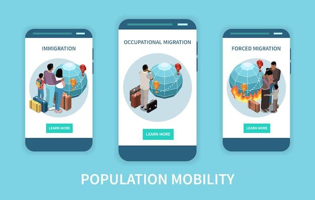 Bevolkingsmobiliteit en migratie verplaatsing banner set illustratie