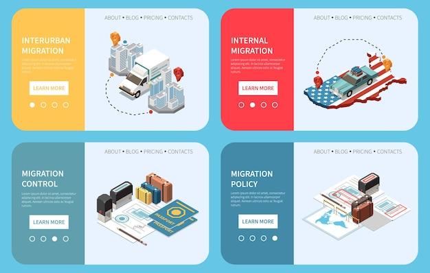 Bevolkingsmobiliteit en migratie verplaatsing paginakiezer illustratie