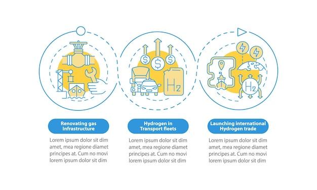 Bevordering van groene h2 vector infographic sjabloon. internationale handelspresentatie schets ontwerpelementen. datavisualisatie met 3 stappen. proces tijdlijn info grafiek. workflowlay-out met lijnpictogrammen