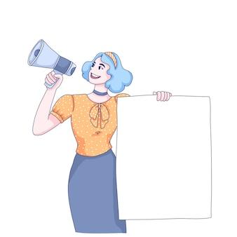 Bevordering van meisje cartoon afbeelding.