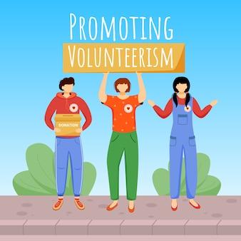 Bevordering van vrijwilligerswerk op sociale media. liefdadigheidsorganisatie reclame webbanner ontwerpsjabloon. booster voor sociale media, inhoudlay-out