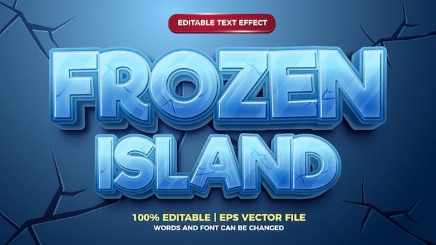 Bevroren eiland 3d bewerkbare teksteffect cartoonstijl