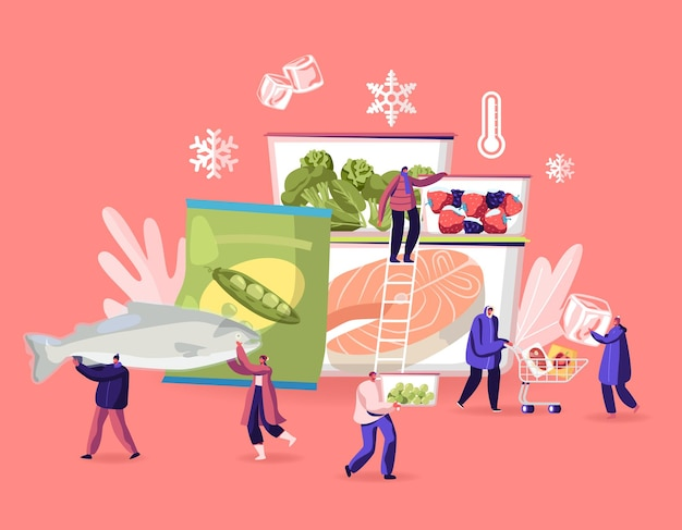 Bevroren voedselconcept. cartoon vlakke afbeelding