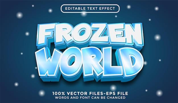Bevroren wereld. bewerkbare teksteffect premium vectoren