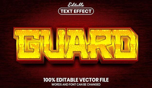 Bewaak tekst, bewerkbaar teksteffect in lettertypestijl