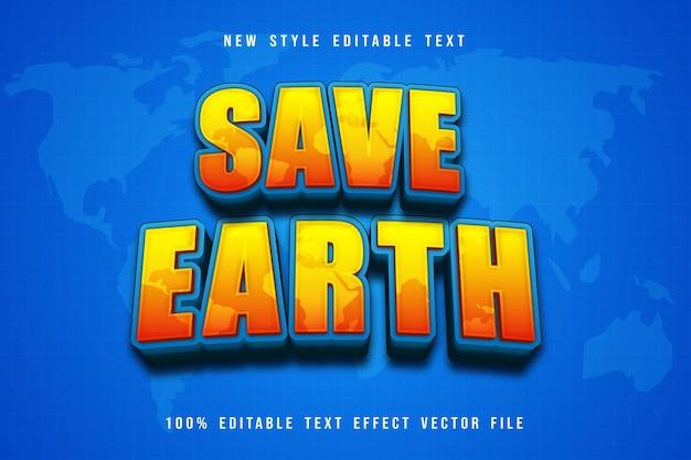 Bewaar aarde bewerkbare teksteffect cartoonstijl