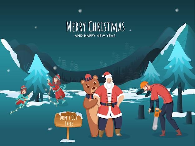 Bewaar bomenconcepten op kerstfestival
