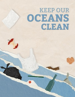 Bewaar de bewerkbare sjabloon voor de oceaanposter