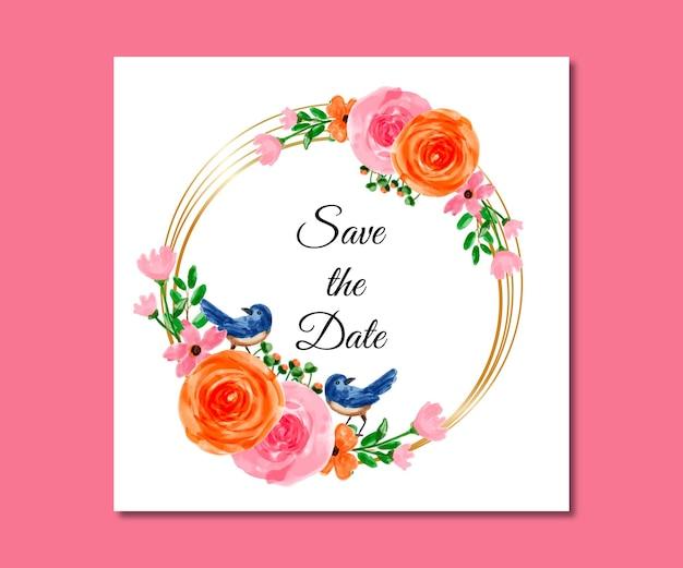 Bewaar de datum aquarel blauw roze bloemen