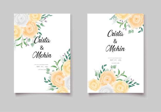 Bewaar de datum aquarel bloemen uitnodigingskaarten set
