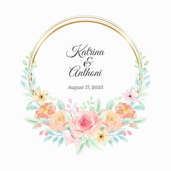 Bewaar de datum aquarel bloemenkrans