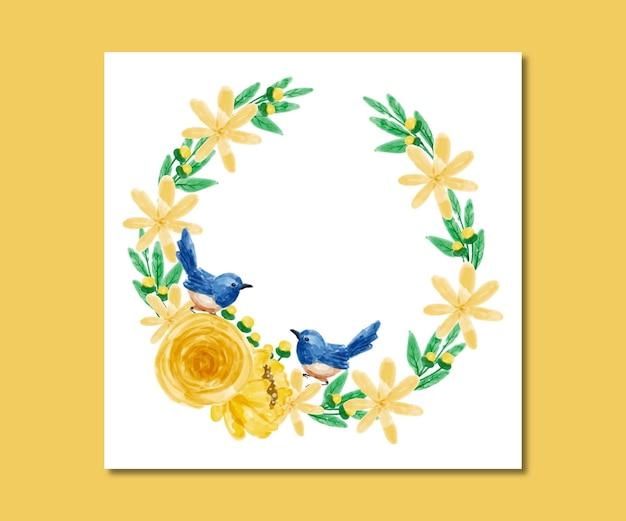 Bewaar de datum aquarel gele bloemen