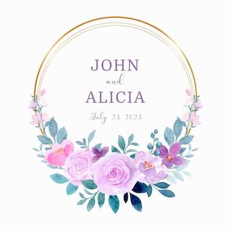 Bewaar de datum aquarel paarse bloemenkrans