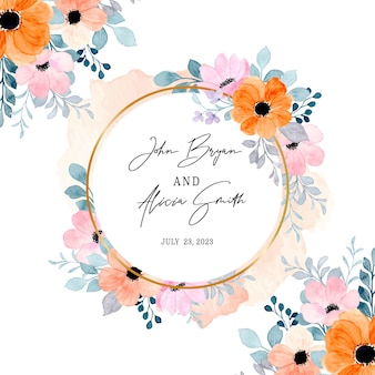 Bewaar de datum aquarel roze bloem met gouden cirkel