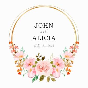 Bewaar de datum aquarel roze bloemenkrans met gouden cirkel