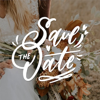Bewaar de datum belettering met bruid