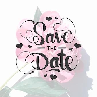 Bewaar de datum belettering met roos foto
