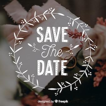 Bewaar de datum belettering op bruiloft afbeelding
