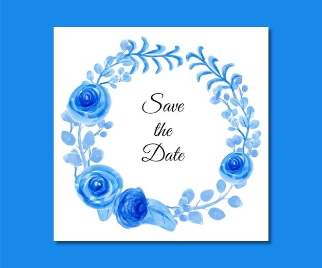 Bewaar de datum blauwe bloemen aquarel