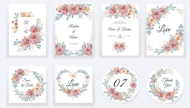 Bewaar de datum bloemen aquarel blauwe kaarten en uitnodigingscollectie