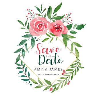 Bewaar de datum bloemen aquarel krans
