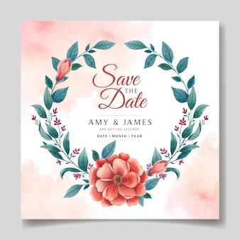 Bewaar de datum bloemenhuwelijksuitnodiging