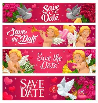Bewaar de datum bruiloft banners cartoon kaarten