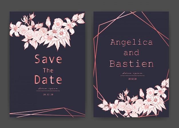 Bewaar de datum bruiloft kaart, bruiloft uitnodigingskaarten met hand getrokken botanische.