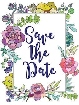 Bewaar de datum. bruiloft kaart frame met bloemen
