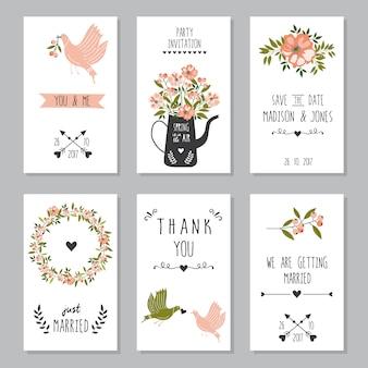 Bewaar de datum bruiloft kaarten sjabloon.