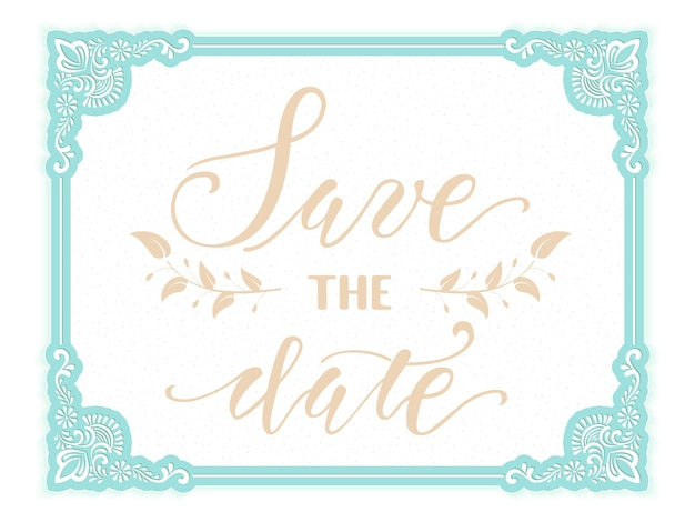 Bewaar de datum. bruiloft uitnodiging en aankondiging kaart met bloemen frame.