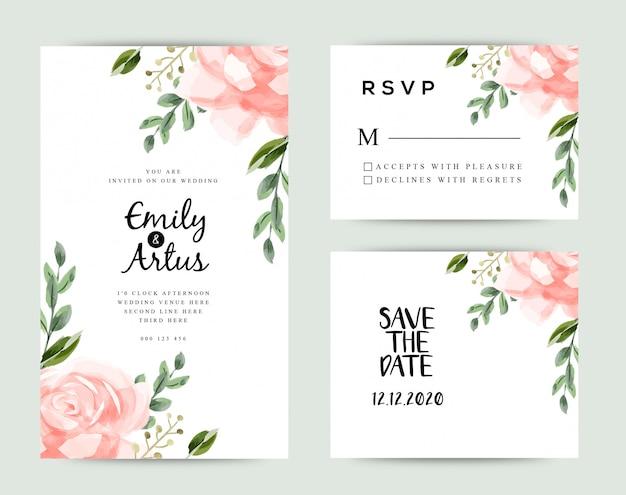 Bewaar de datum bruiloft uitnodiging kaarten sjabloon