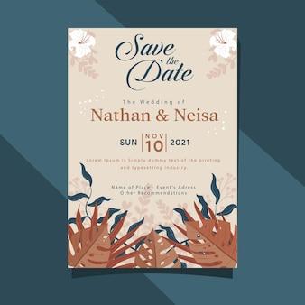 Bewaar de datum bruiloft uitnodiging kaartsjabloon in zachte kleur rustiek blad